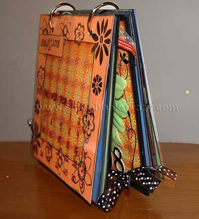 2008 calendar side view showing ribbon ties.