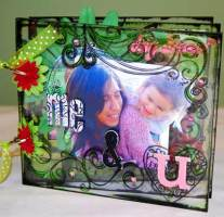 acrylic mini album cover - stamps, bling, chipboard letters