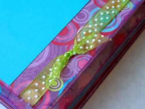 youtopia stamped mini album - may arts ribbon