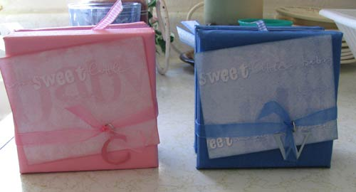 two canvas scrapbook mini albums - baby boy and girl