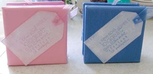two canvas scrapbook mini albums
