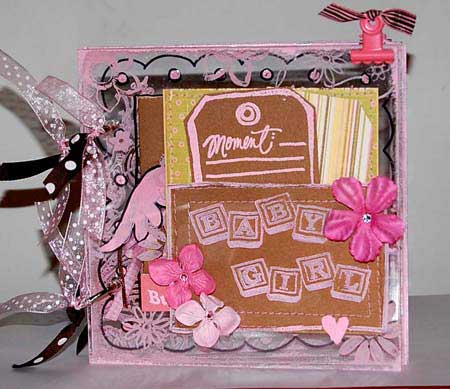 baby scrapbook with stamping