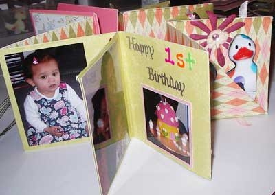 birthday scrapbooking  mini scrapbook inner pages