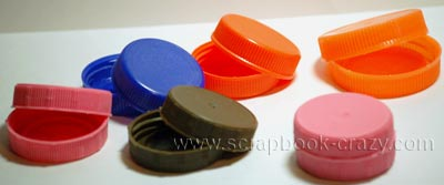 milk bottle tops for scrapbook