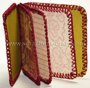 binding crochet mini album scrapbook