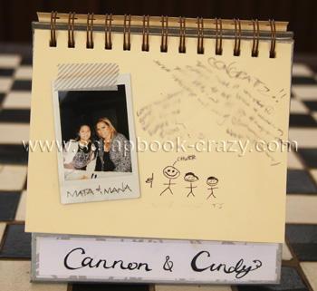 instax guest book with a couple of missing guests drawn in by hand. too cute.