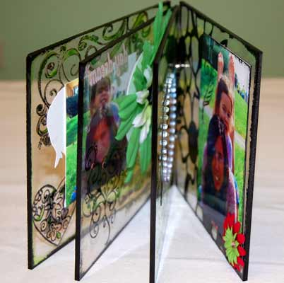 side view of acrylic mini album