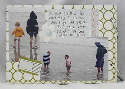 making memories scrapbook - getting wet on the beach