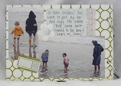 making memories scrapbook - getting wet on the beach