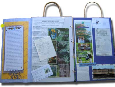 wine tour memory book made from a paper bag