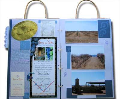 a paper bag mini album of Andrea's wine tour in texas