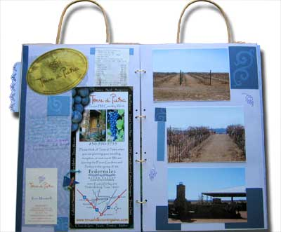 a paper bag mini album of Andrea's wine tour in texas