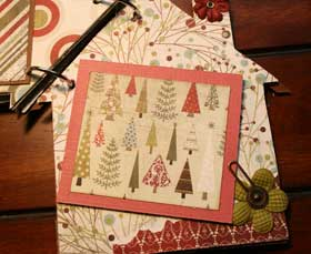 Christmas House scrapbook inside minibook