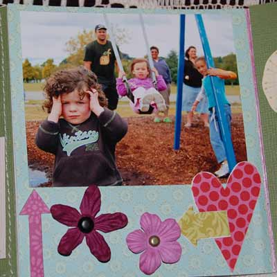 family scrapbook mini album - at the park on the swings