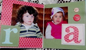 family scrapbook mini album - the kids on the couch