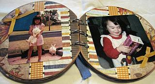 mini scrapbook photos of kids with rabbits and playing