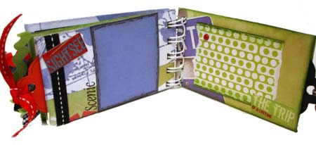 blue and green scrapbook pages