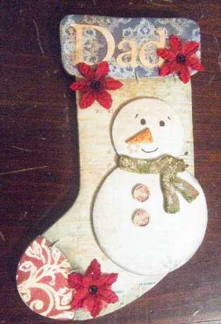 Scrapbook Snowman Stocking
